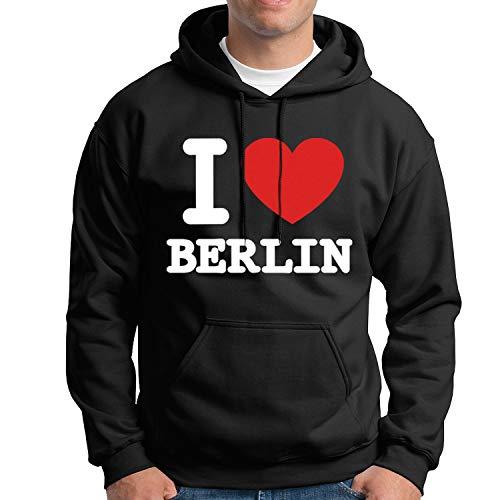 United1871 Kapuzenpullover I Love Berlin | schwarz | bequemer Hoodie mit Bauchtasche vorne direkt aus der Hauptstadt