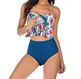 LA ORCHID Laorchid Damen high Waist Bikini Balcony zweiteilig Mädchen Tankini Push up Badeanzug mit Shaping Effekt Bandeau sexy Blumen+Blau L