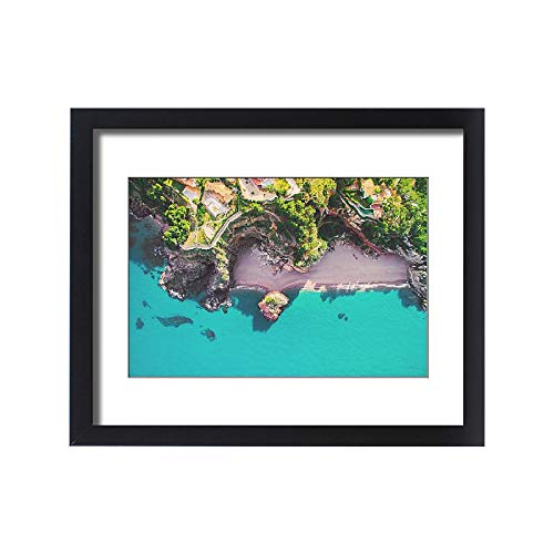 Framed 20x16 Print of Aerial Picture Taken with Drone of a Beautiful Beach with Turquoise (18272279)