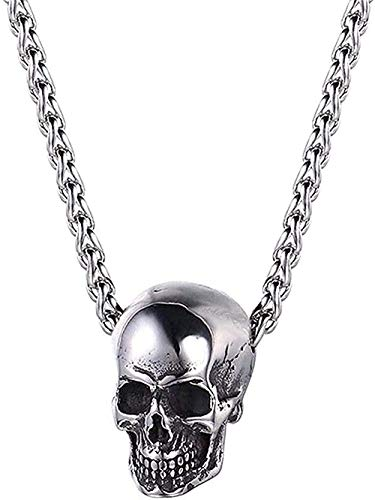 LBBYLFFF Collar Horn Evil Devil Demon Skull Colgante Collar Acero Inoxidable Los Ojos de Hip Hop Collar Joyas para Hombres Collar de Regalo