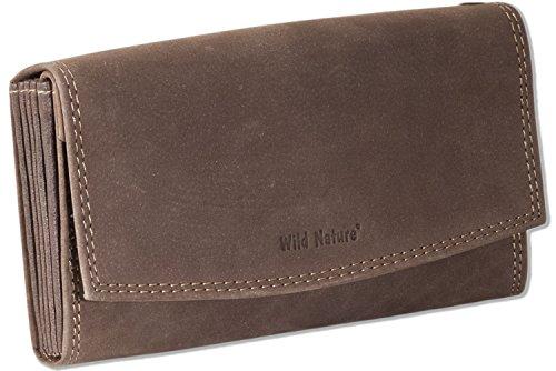 Wild Nature® Profi Kellnerbörse mit Doppel-Druckknopfverschluss aus naturbelassenem Büffelleder in Dunkelbraun/Taupe