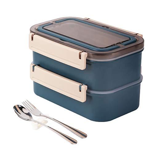 Lunchbox Erwachsene Kinder Bento Box, 100% Auslaufsicher Brotdose mit 3 Fächern und Griff, Edelstahlbehälter Frühstücksbox mit Edelstahl Löffel & Gabel für Arbeit Schule Picknick und Reisen(Blau)