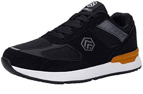 DYKHMILY Zapatillas De Seguridad Hombre Impermeable S3 SRC Antideslizante Zapatillas De Trabajo Con Punta De Acero Transpirable Botas De Seguridad (Negro,46 EU)