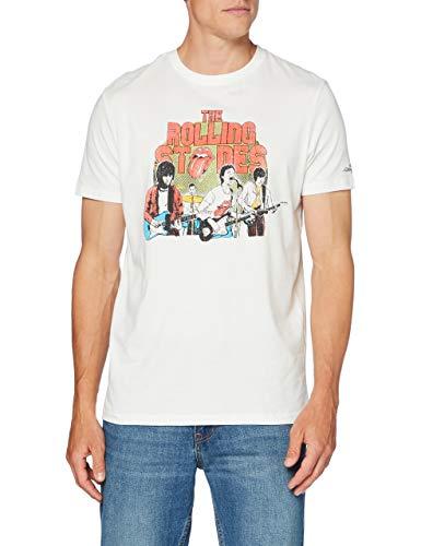 Springfield 3Lc Licencia Rolling-c/96 Camiseta, Blanco (Ivory 96), L (Tamaño del Fabricante: L) para Hombre