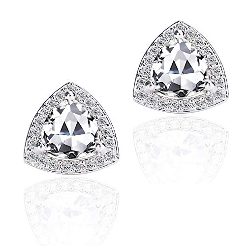 LANCHARMED 925 Steeling Sivler Classic Triangle Earrings,Hypoallergenic earrings White Clear Zircon Withe Gold Plated Cubic Silver Stud Earrings with Crystal Gem Cubic Zirconia for Womens