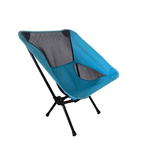 Al Aire Libre Super Hard Travel Súper Ligero Asiento de Picnic de Alta Carga Plegable Camping Moon Chair Silla de Viaje para Pesca en la Playa con Bolsillo Lateral - e5, Lake Blue