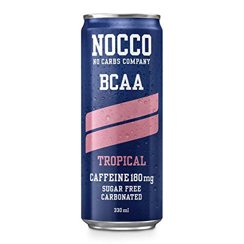 NOCCO BCAA Tropical (12 Pack)   Zero Sugar Functional Energy Drink   No Carbs Company   Vitamin Enhanced with 180mg Caffeine   Flavoured Functional Drinks for Health, Fitness & Everyday
