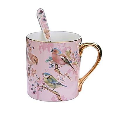 YBK Tech Bone China Porcelain Tea Cup Coffee Mug for Home Kitchen Office - Birds Patterns (Pink)
