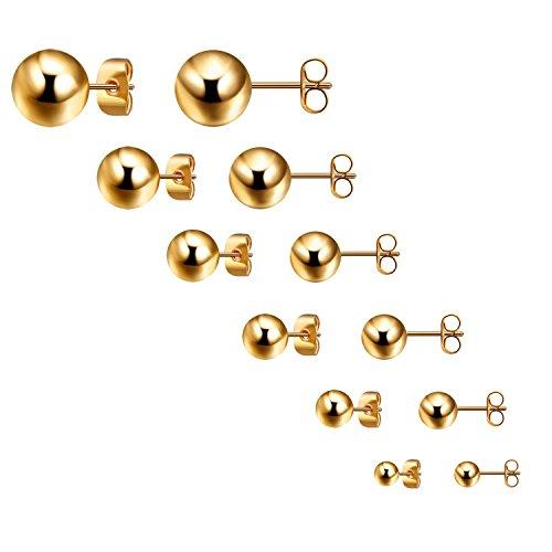 Bliqniq 6 pares de Pendientes Mujer Hombre en forma Bola redondo de moda de Acero inoxidable de 3-8mm oro