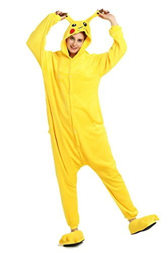 Frau Pokemon Pikachu Schlafanzug Erwachsene Anime Cosplay Halloween Kostüm Kleidung Onesie-M Pikachu