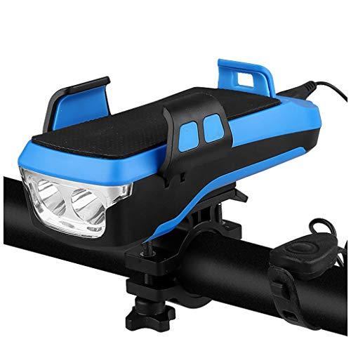 Luces para bicicleta con soporte para teléfono, Juego de luces para bicicleta recargable, 3 modos de luz, Accesorios para bicicleta de carretera, Impermeable, Campana de bicicleta 4 en 1 (4000mA)