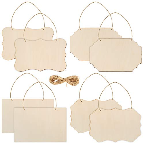 Caydo 8 Pack Unfinished 9 x 6 Inch Hallween Rectangle Wood Plaque Hanging Wood Sign with Jute Rope for Pyrography, Painting, Writing, and Decorations