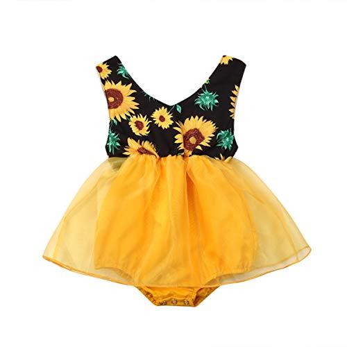 Carolilly Vestido Niña 0-18 Meses Mameluco Falda para Bebé Recién Nacido Mono de Tul Estampado Floral Girasol sin Mangas para Bebés Niñas