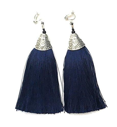 Long Funky Navy Blue Tassel Chandelier Dangle Party Clip On Earrings