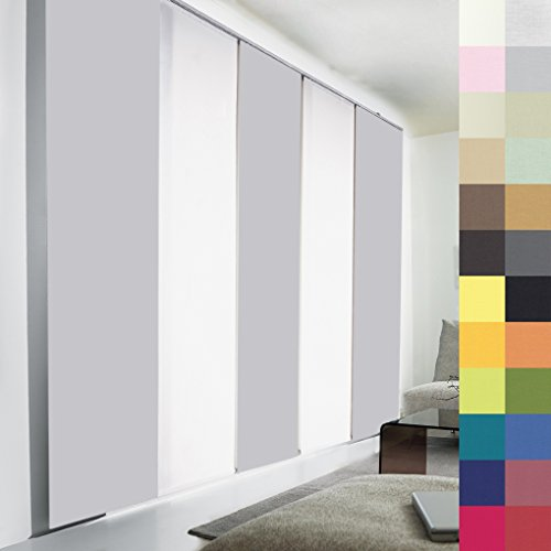 Sun World Schiebegardinen nach Maß, hochqualitative Wertarbeit, alle Größen verfügbar, Maßanfertigung, Schiebevorhang, Raumteiler, Flächenvorhang, Blickdicht (120cm Höhe x 50cm Breite/Light Grey)