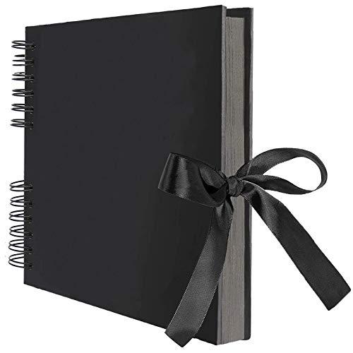 AIOR Album de Fotos para Pegar y Escribir Scrapbook, 80 Páginas Negras, DIY Scrapbooking Album Original para Aniversario de Boda de Oro Cumpleaños Navidad para Mujer Niña Novia Regalos (Negro)