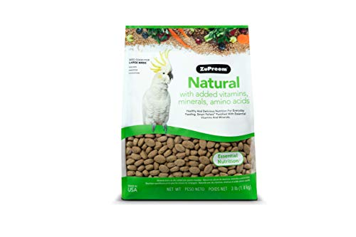 ZuPreem Natural Bird Food for Large Birds, 3 lb Bag | Made in The USA, Essential Vitamins, Minerals, Amino Acids for Amazons, Macaws, Cockatoos
