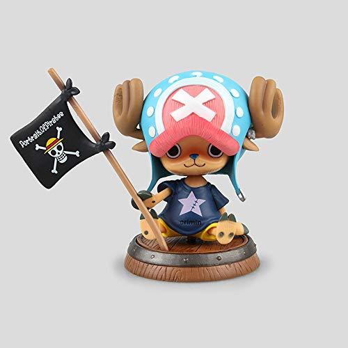 WISHVYQ UNA Pieza Modelo de Anime Bandera Barril Sentado Chopper Tony Tony Chopper Escultura Decoración Estatua Muñeca Modelo Juguete Altura 10cm