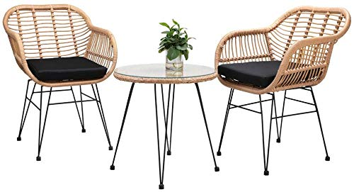 Wicker Rattan Garden Chairs Set of 2 and Table Outdoor Handmade Patio Furniture Conversation Chairs Set 2 Armchairs + Tempered Glass Top Table Indoor Outdoor Set (Includes 2 cushions)[UK STOCK]