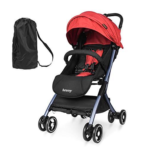 Besrey Kinderwagen leicht Flugzeug Kinderwagen Buggy für Baby ab Geburt bis 3 Jahren klein zusammenklappbar leicht Buggy mit Liegeposition kann ins Flugzeug mitnehmen - Rot