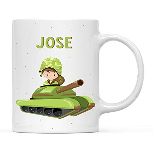 Andaz Press Personalized 11oz. Kids Milk Hot Chocolate Mug, Army Military Boy in Tank, 1-Pack, Custom Child's Birthday Christmas Coffee Cup