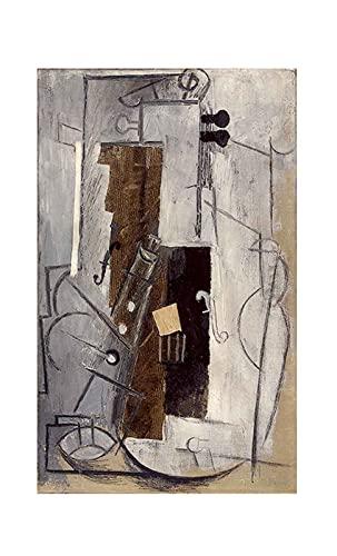 Clarinete y violín de Pablo Picasso Cuadro Decoración Pared Cuadros Famoso Para Dormitorios Modernos Lienzo Cuadros Decorativos Decoracion de Salones (60x100cm24x39inch, sin marco)