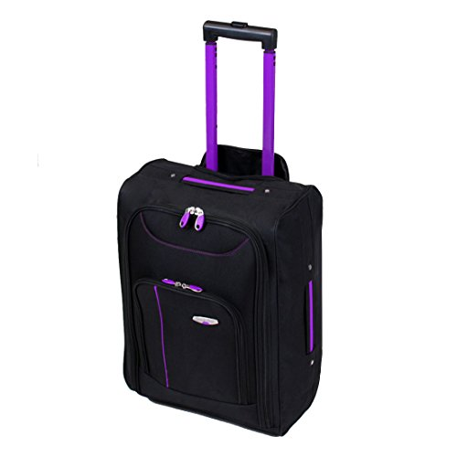 More4bagz Cabin Approved On Board Wheeled Hand Luggage Travel Trolley Flight Holdall Bag Fits Easyjet, Ryanair, BMI & Many More (Black/Purple)