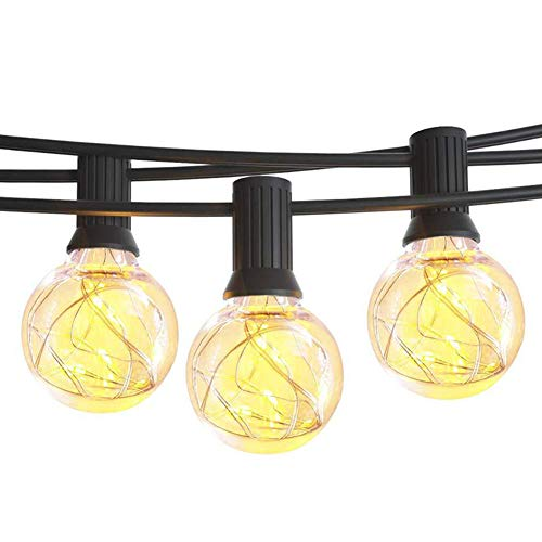 Outdoor Patio String Lights, Solar Powered Waterproof LED Outdoor String Lights - Decorative Globe String Lights for Backyard Pergola Party Bistro Porch Cafe, Outdoor Garden Yard Lamp