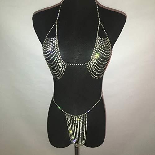 HQLCX Accesorios Cadena Rhinestone Brillante de Múltiples Capas en el Pecho y Joyería Panty Sexy Vestido Sujetador Arnés de Cuerpo Cadena Partido de La Moda de Verano para Mujer,Plata