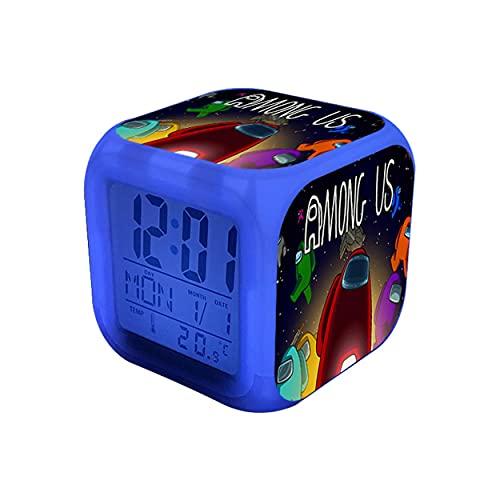 entre nosotros juguetes Reloj despertador de dibujos animados entre nosotros 7 colores que cambian la luz nocturna Reloj despertador digital LED Reloj de escritori