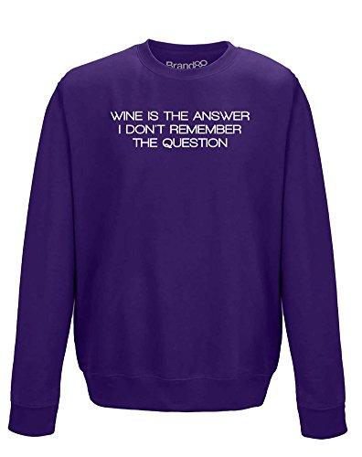 Wine Is The Answer, Felpa Adulti - Viola/Bianca S = 92cm