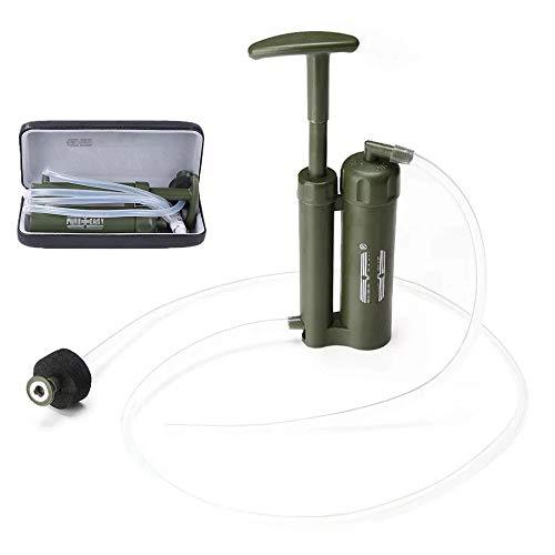 DTTKKUE Tragbare Camping-Wasseraufbereitungssystem, Notüberlebens Wasserfilter, Wasserfilterpumpe im Freien Überlebens-Werkzeug für Camping Bergsteigen Wandern Radfahren Notgebrauch
