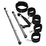 MCMCMCA Adjustable Size Durable Indoor Sport Fitness Equipment BSDM Spreader Bar Kit Adult Toys Set for Men and Women (Black)