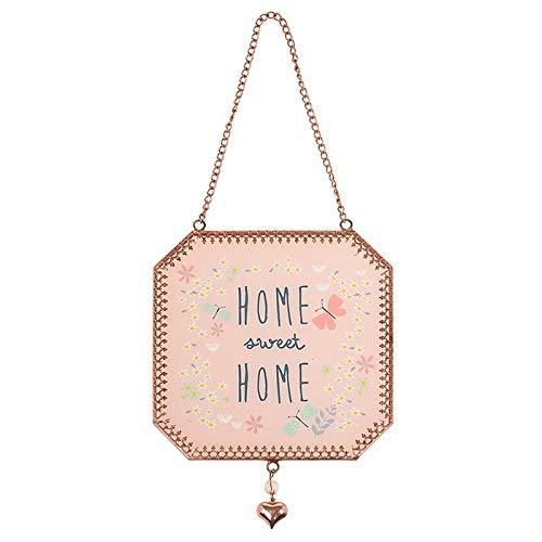 Shudehill Giftware Home Sweet Home - Placa Decorativa para Colgar en la Pared, diseño de Cadena de Oro Rosa y Transparente