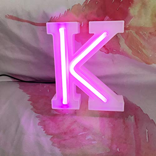 QiaoFei - Carta para fiestas con luces y letreros de neón, color rosa para decoración de pared/mesa para casa, bar, Navidad, fiesta de cumpleaños, día de San Valentín, palabras de color rosa (K)