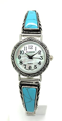 Ladies Stones Stretch Elastic Band Fashion Watch Pearl Dial Wincci (Turquoise)
