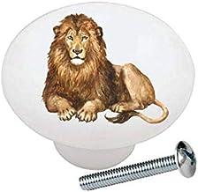 Lion from The Wild Africa Series African Safari Wildlife Animals - Decorative Ceramic Dresser Drawer Pulls Cabinet Cupboar...