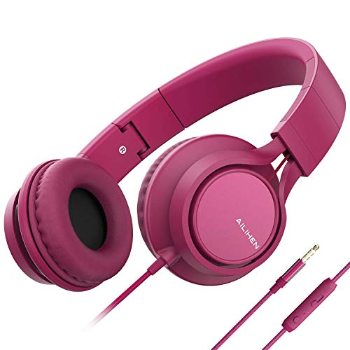 Cheap AILIHEN C8 (Upgraded) Headphones with Microphone and Volume Control Folding Lightweight Headse...