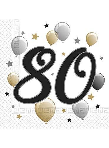 Procos 88871 - Tovaglioli di carta Milestone 80 anni, 20 pezzi, dimensioni 33 x 33 cm, decorazione da tavola, foulard, 80° compleanno palloncini