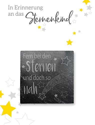 STERNENKIND TROST-SCHIEFERPLATTE - 5,5x5,5 cm mit hochwertiger Lasergravur - Fern bei den Sternen… - Grabschmuck und Trostspender für trauernde Eltern