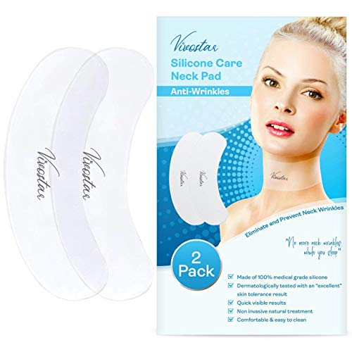 Silicone Neck Wrinkle Pads, Neckline Anti-Wrinkle Remover Patches, Firming And Lifting Neck Skin, Overnight Repairing Fine Lines and Turkey Neck, Reusable, 2 Pieces