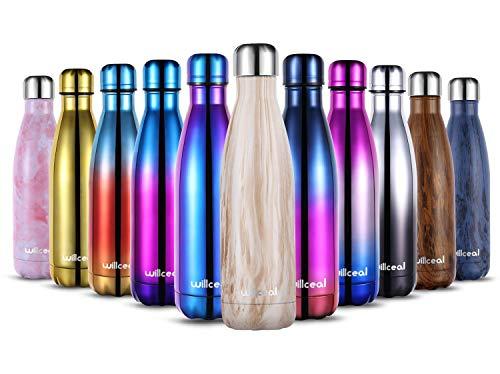 willceal Botella de Agua de Doble Pared de Acero Inoxidable con Aislamiento al vacío, 500 ml, a Prueba de Fugas, para Mantener el frío y Bebidas Calientes (Madera Blanca, 500ml)