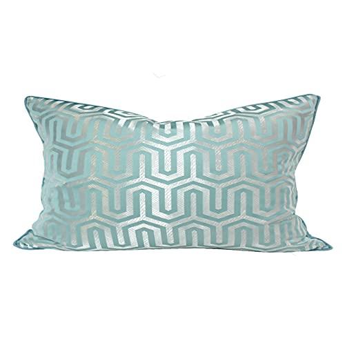 QXbecky Fundas de Cojines Azul Claro clásico luz geométrica Estilo de Lujo de Alta precisión (sin núcleo) Funda de Almohada Cuadrada Moderna decoración de sofá Minimalista Cintura Espalda 50cm