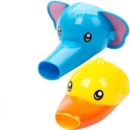 YIQI Wasserhahn Erweiterung für Kinder - Set mit 2 Tieren Wasserhahn Erweiterung für Waschbecken Wasserhähne - Handwäsche für Babys, Kleinkinder & Kinder (Elefant und Ente)
