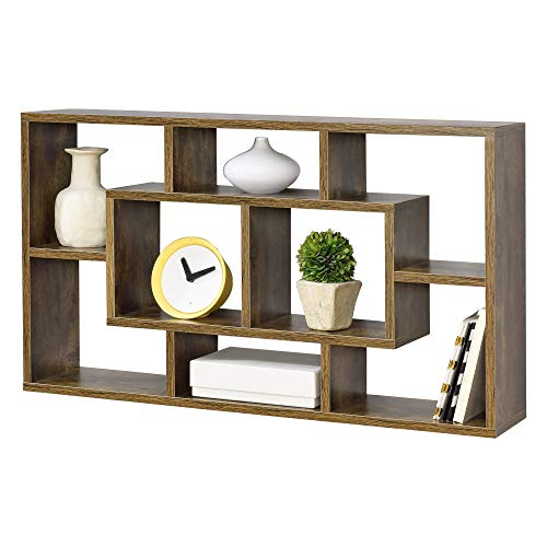 [en.casa] Wandregal Saputit 85x16x48cm Regal mit 8 Ablageflächen Bücherregal Hängeregal Büroregal Retro Holz Dunkel