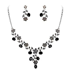 Brilliant flower jewelry set with oval-shaped droplet for bridesmaid or bride. Made of crystals. Wearing this kind of jewelry will make you more eye-catching. It will be an ideal gift for your girlfriend, wife, fiancee, daughter, mother, your special...