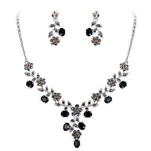 EVER FAITH Flower Leaf Necklace Earrings Set Austrian Crystal Silver-Tone - Black