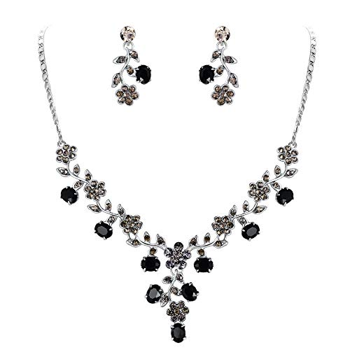 EVER FAITH Flower Leaf Necklace Earrings Set Austrian Crystal Silver-Tone - Black