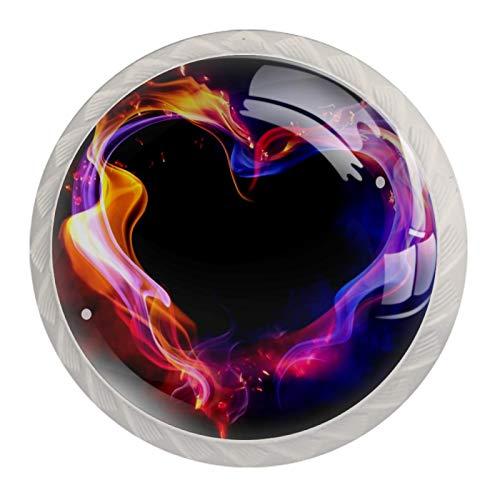 Manilla de puerta de cajón, 4 piezas, diseño abstracto de corazón ahumado