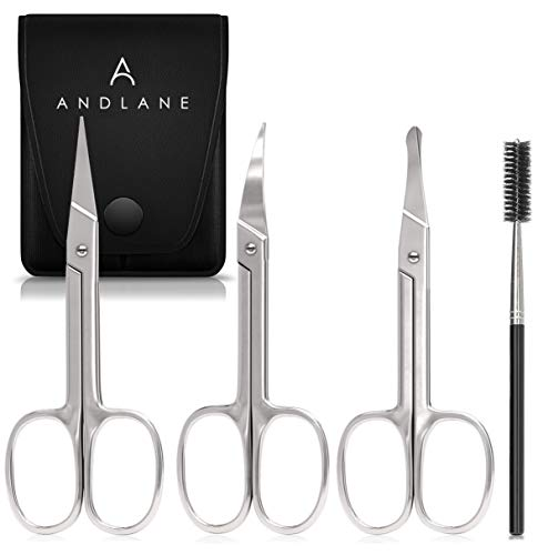 Price comparison product image Eyebrow Scissors with Eyebrow Brush Curved Tip,  Blunt Tip,  Straight Tip Small Scissors for Facial Hair - Mustache,  Nose,  Ear Hair & Beard Trimming Scissors - Professional Stainless Steel (3 Pack)